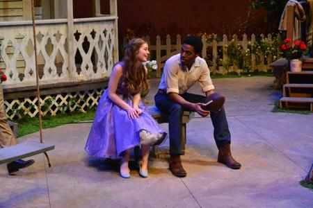 Millie (Katie Jones) and Hal (Antonio King) get to know each other while the rest of the cast pimps for the Labor Day picnic.