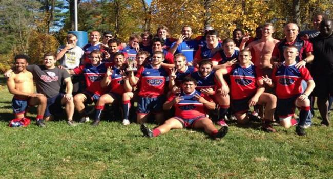 The rugby club celebrates after winning its third state championship.  Photo courtesy of USI Rugby
