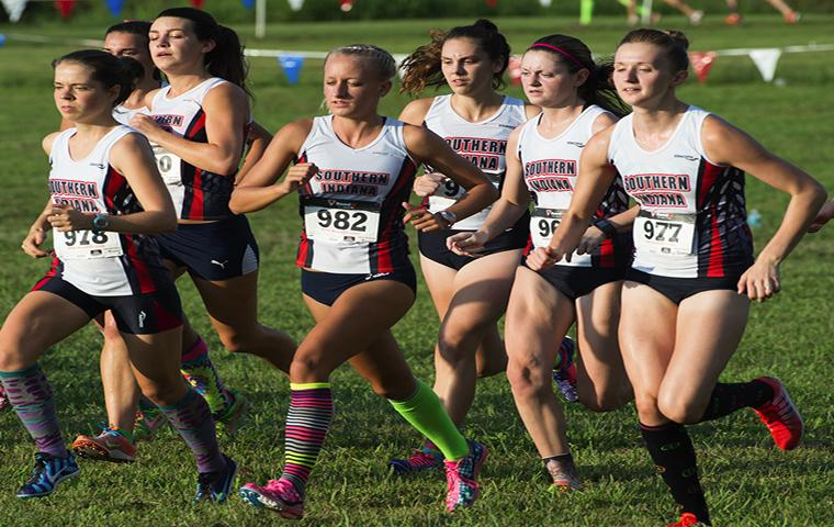 Members of the 2014 women's cross country team compete in the Stegemoller Classic.