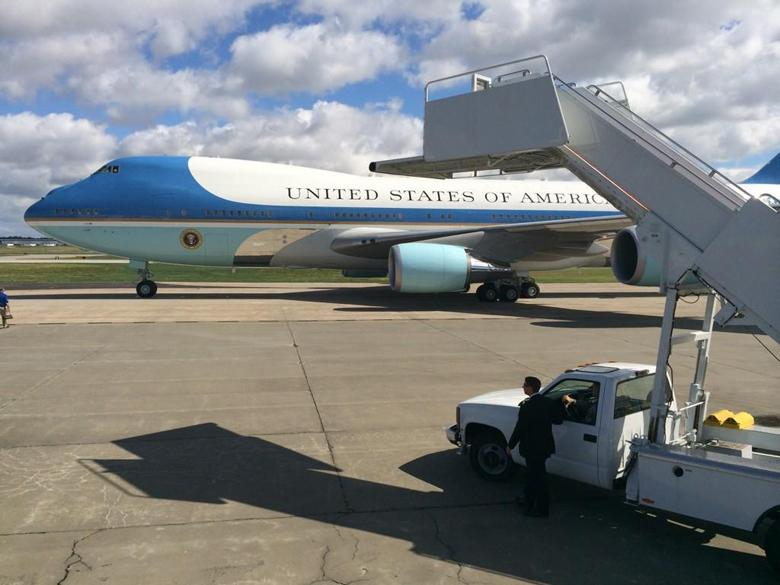 Air Force One lands
