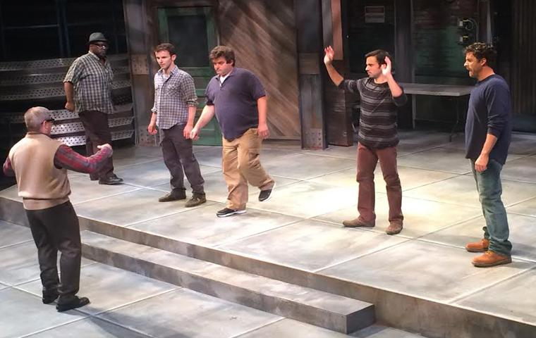 """The cast of New Harmony Theatre's production of """"The Full Monty"""" practices their dance moves Wednesday at the Performance Center. Photo by Megan Thorne/The Shield"""