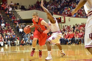 Senior forward Taylor Wischmeier drives on an Indiana player during Saturday's exhibition game.