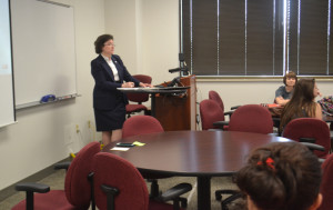 President Linda Bennett is teaching a First Year Experience course this semester. The class met for the first time Friday morning.