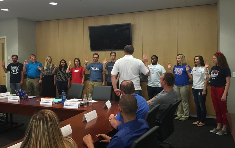 Twelve new members are sworn into SGA on Sept. 17. Photo courtesy of Alexa Bueltel