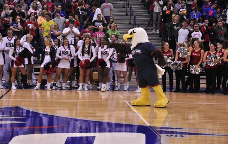Archie the Eagle interacts with the fans after the unveiling.