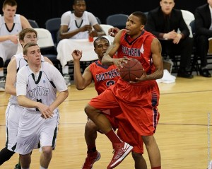 Orlando Rutledge goes up for a shot last season at the Ford Center in Evansville, Ind. (Photo courtesy: USI Athletics)